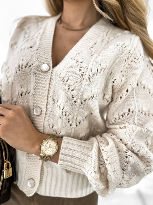 sweter ażurowy kremowy Megan