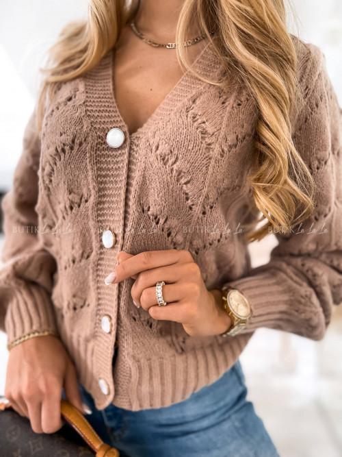 sweter ażurowy kawowy Megan