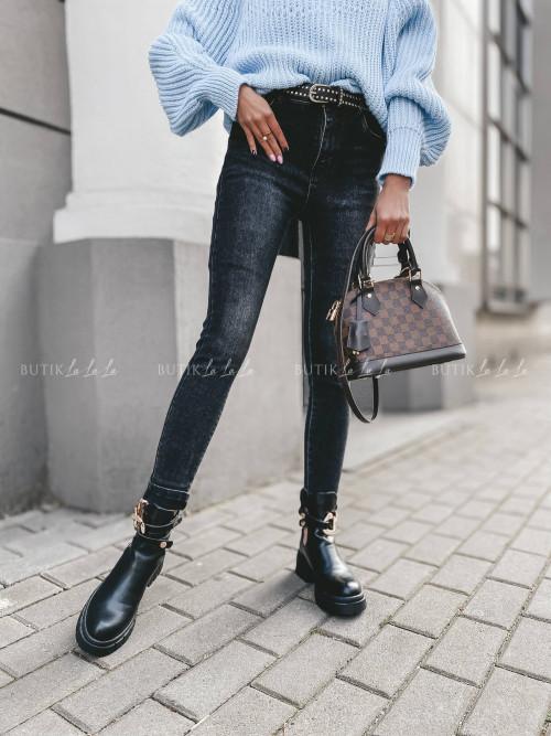 spodnie czarne jeans Moris