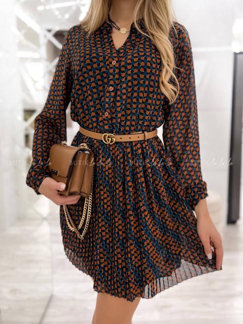 sukienka karmelowa z plisą Ante