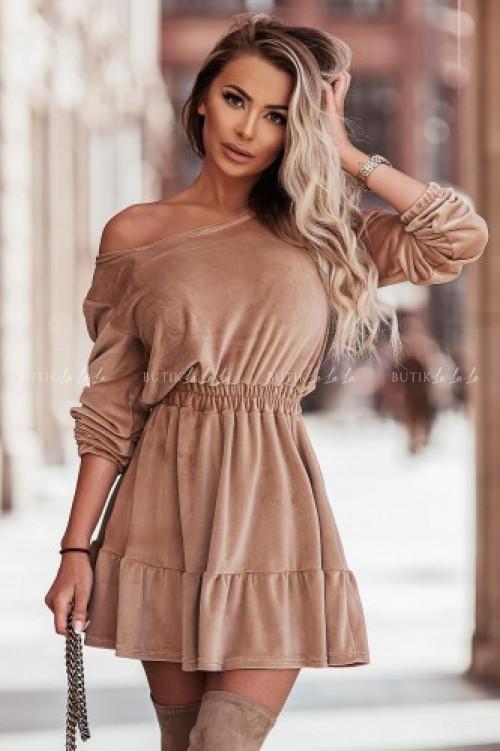 sukienka camelowa welurowa Apollo