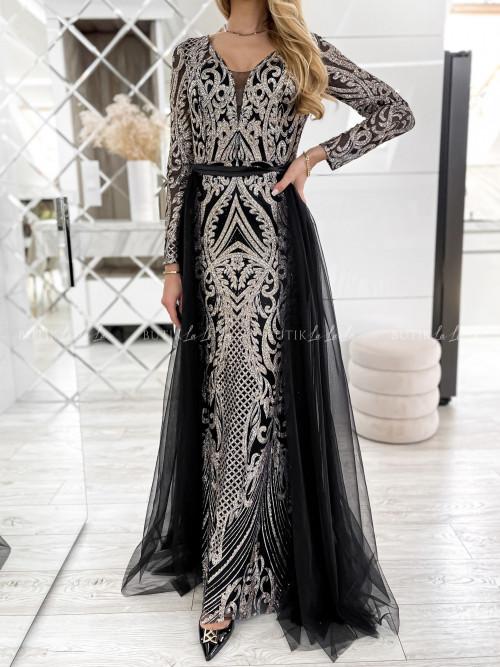 Sukienka czarna cekinowo-tiulowa Diana 21078