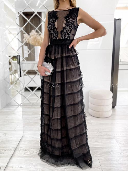 Sukienka maxi czarno-beżowa Katherina