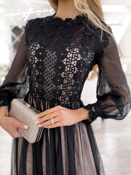 sukienka czarno beżowa tiulowa Leonessa