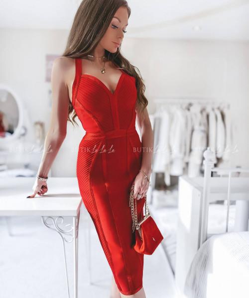 sukienka bandażowa czerwona Simona