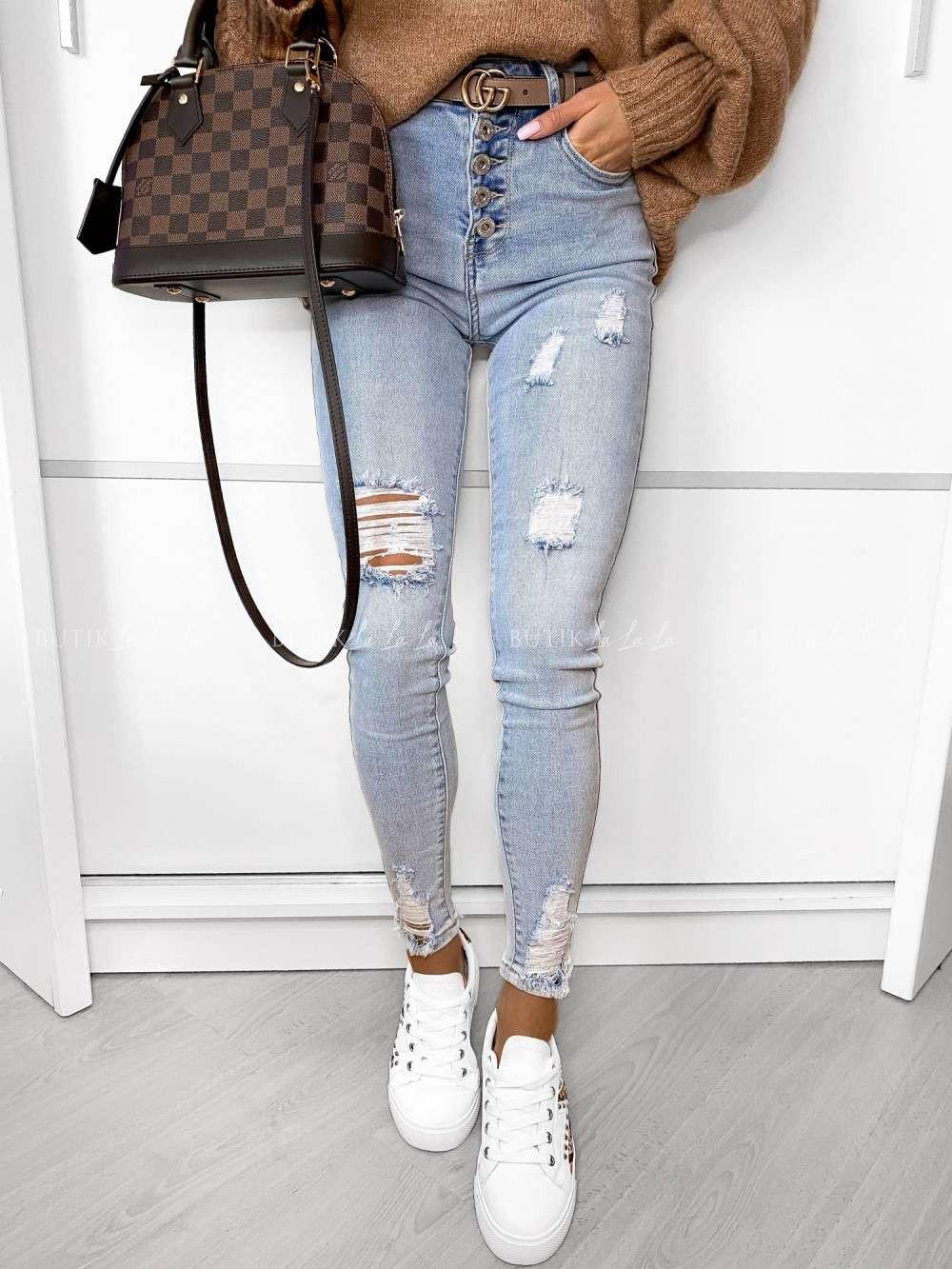 jasne jeansy zwysokim stanem