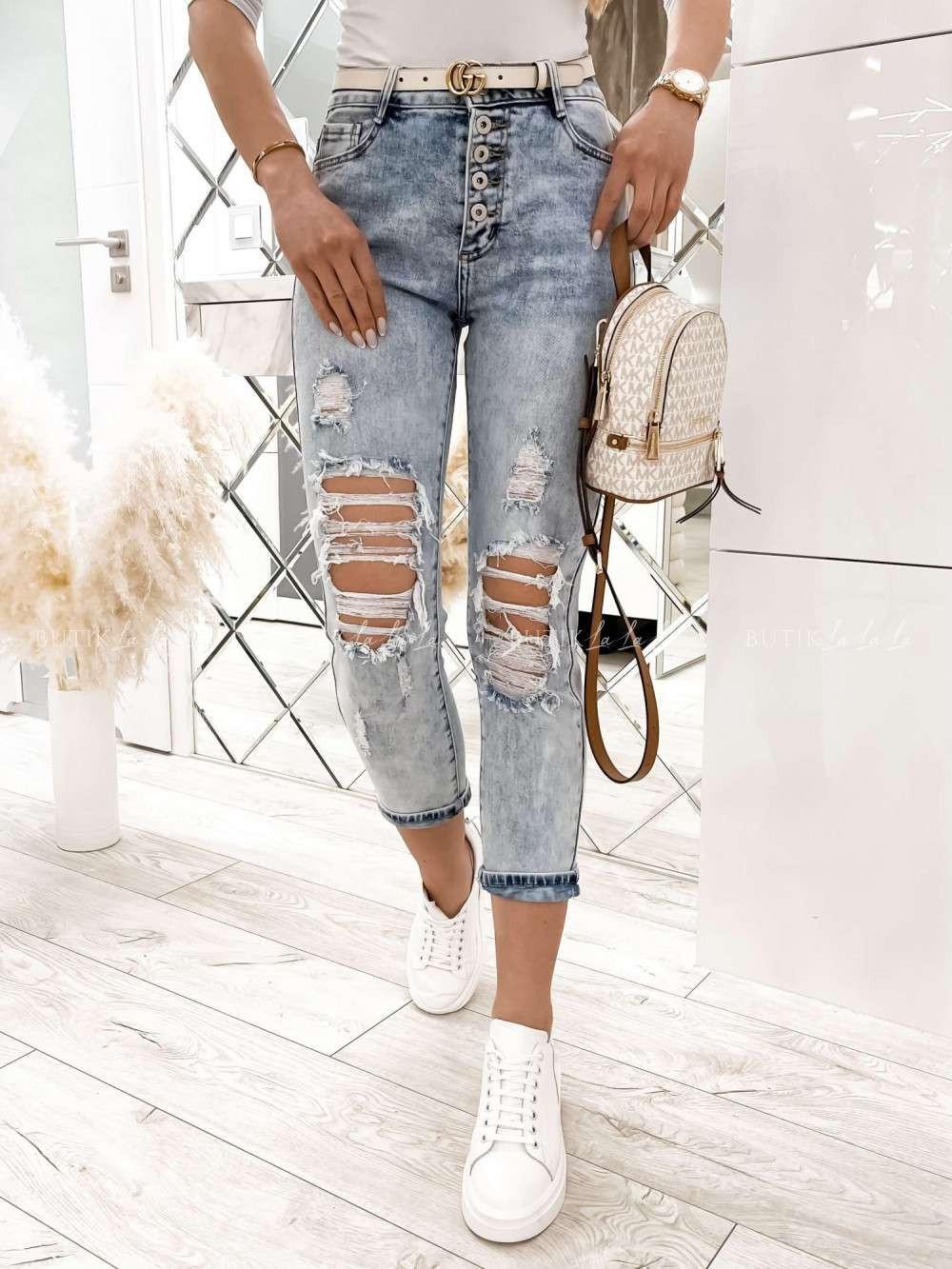 damskie jeansy zdziurami