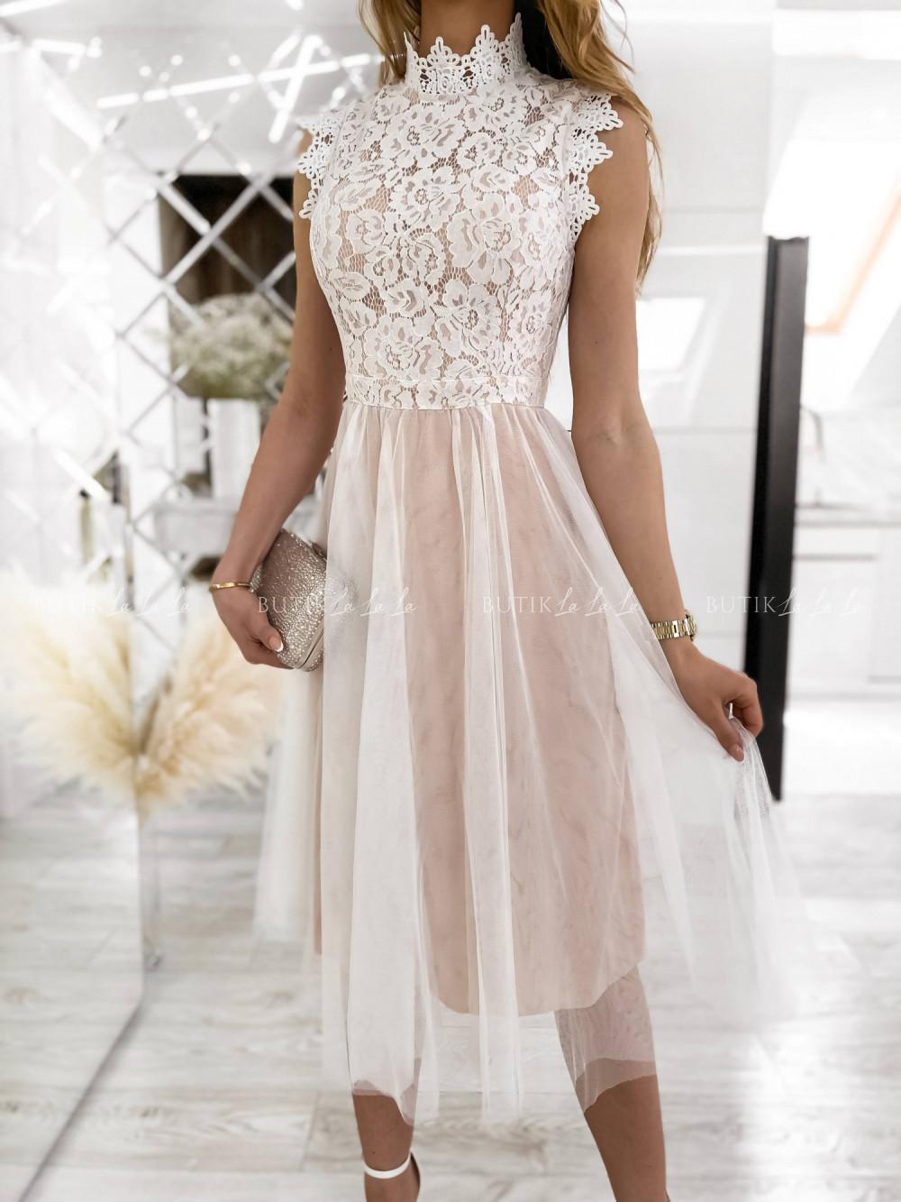 sukienka koronkowa biala