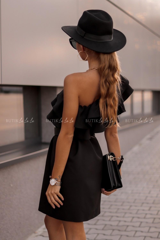 sukienka czarna zfalbana