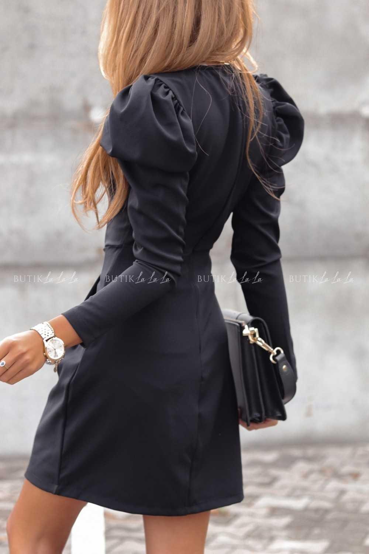 czarna sukienka zbufiastymi rekawami