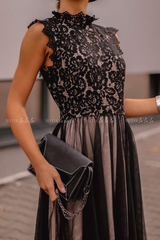 czarna sukienka ztiulem ikoronka
