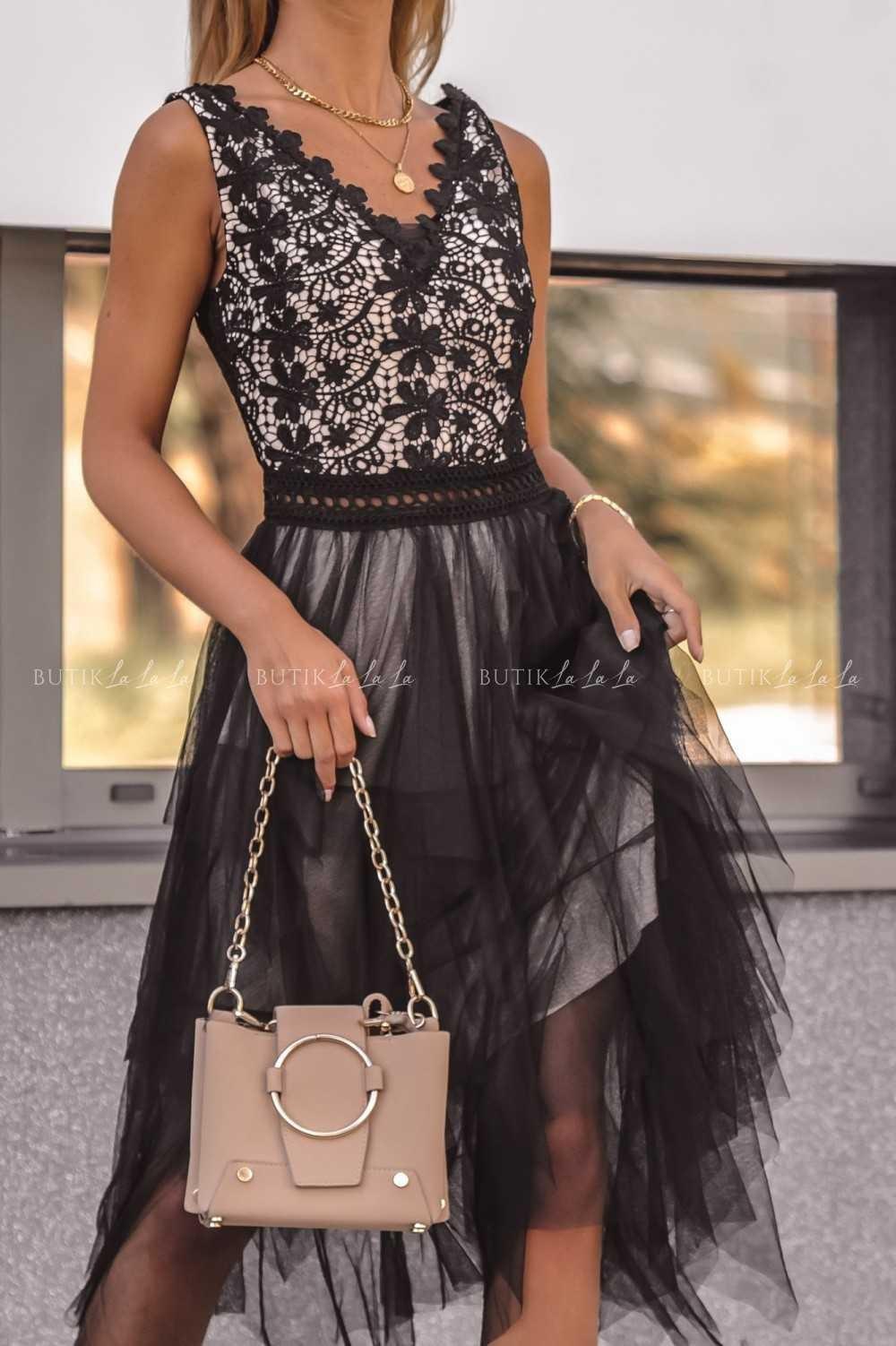 sukienka czarna koronka tiul