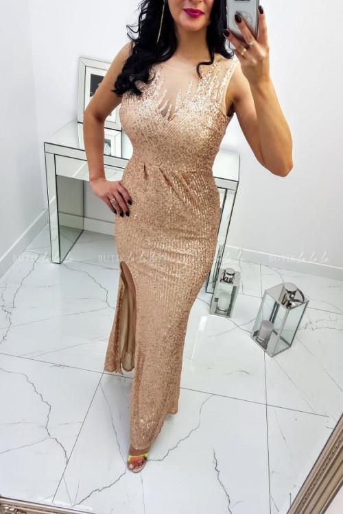 Sukienka Cekinowa Maxi Złota Darren 4