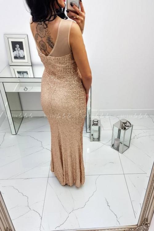 Sukienka Cekinowa Maxi Złota Darren 5