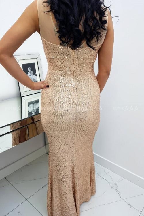 Sukienka Cekinowa Maxi Złota Darren 1