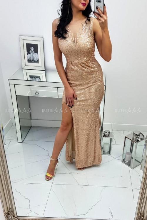 Sukienka Cekinowa Maxi Złota Darren 8
