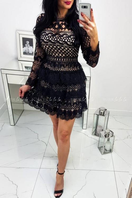 Sukienka Czarno/Beżowa na długi rękaw Roxy