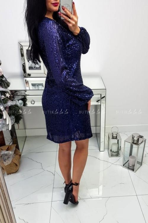 Sukienka Granatowa cekinowa trapezowa 2