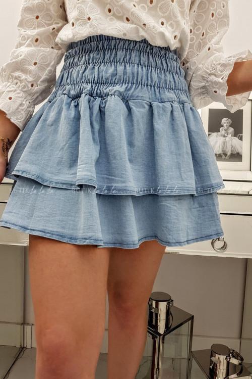 Spódniczka jeans z falbankami i gumką Zuzi