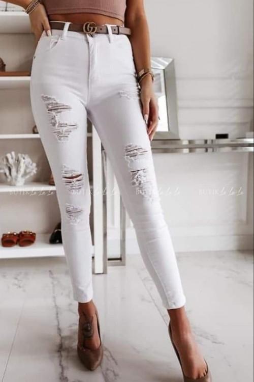 Spodnie białe z przetarciami