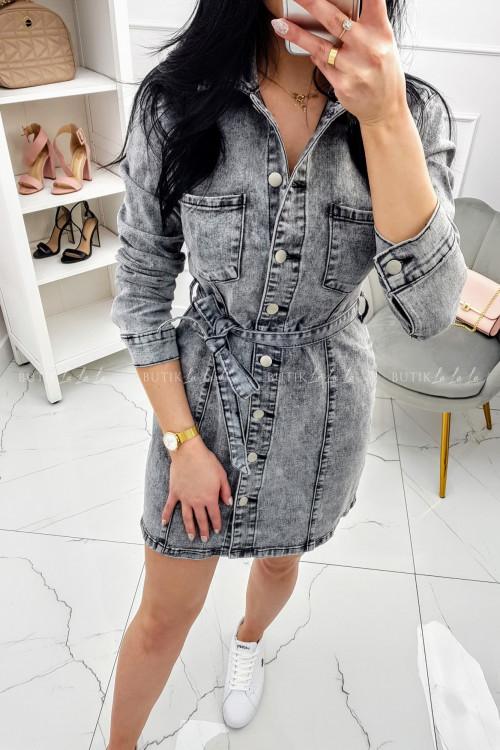 Sukienka Jeans szara na guziki