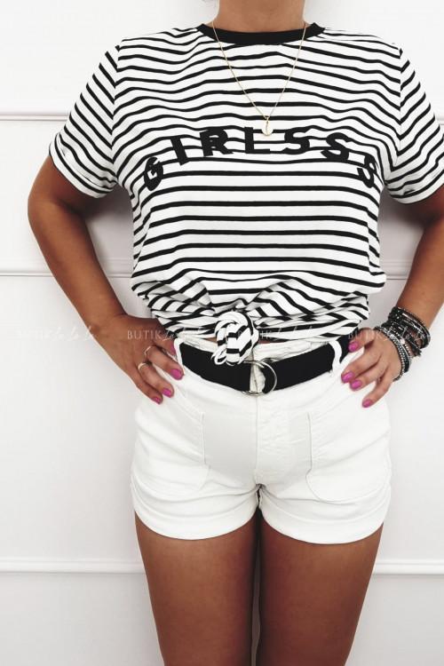 T-shirt w paski Girlsss