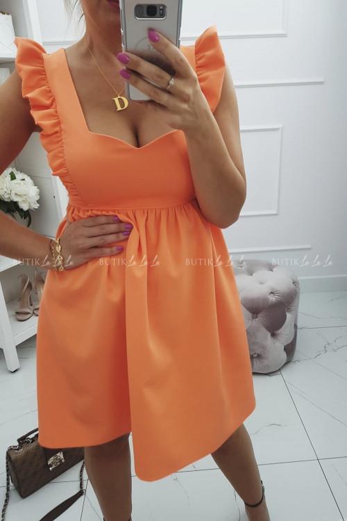 Sukienka z falbanką i gładkim dołem pomarańczowa Emanuel