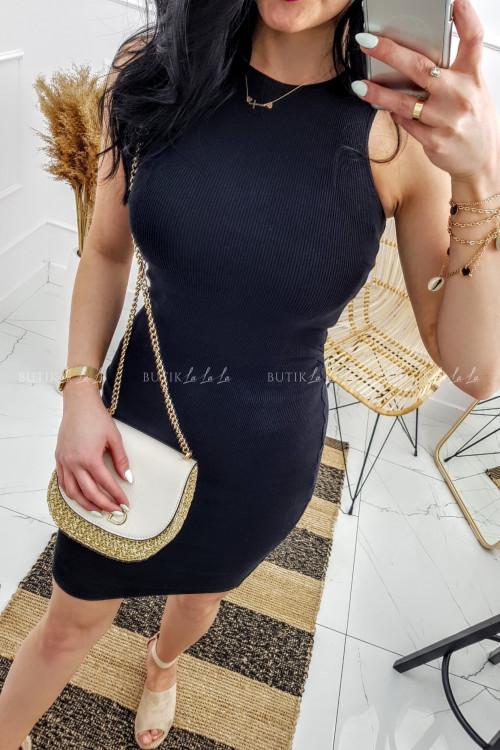 Sukienka Czarna prążek Lila