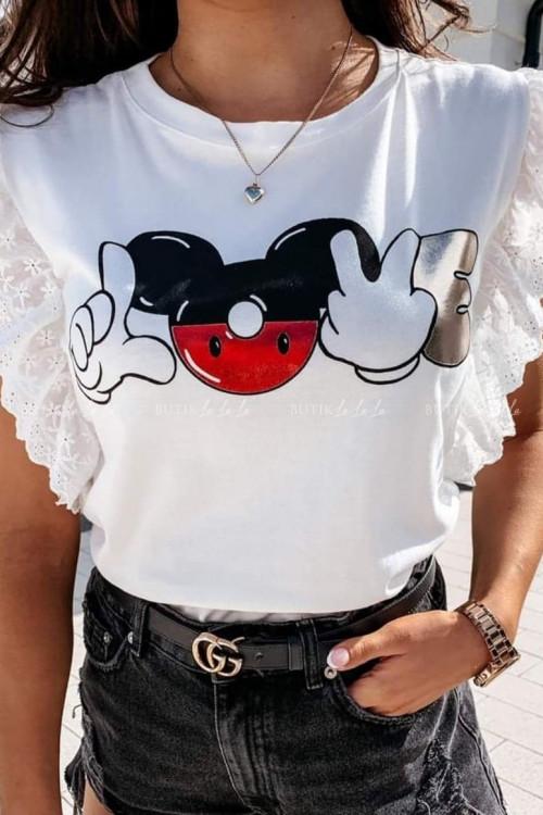 T-shirt kremowy z falbankami Miki