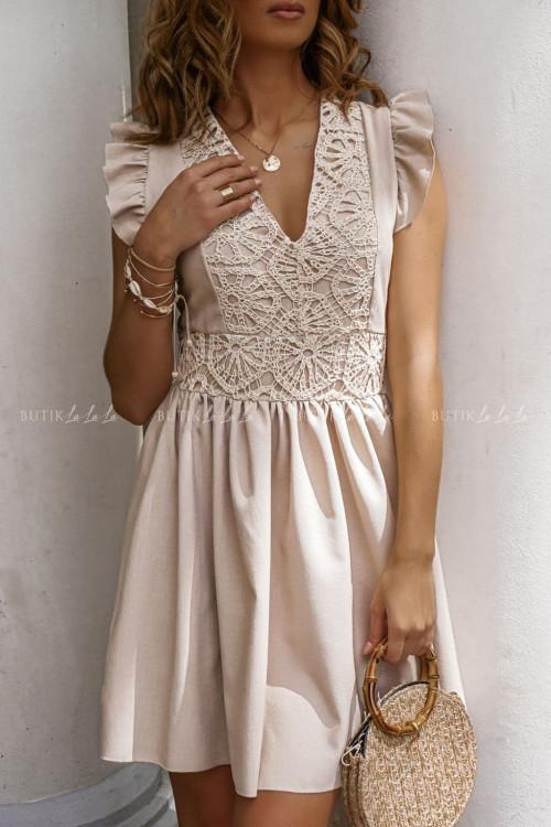 Sukienka letnia lniana z koronkową górą beżowa Livia