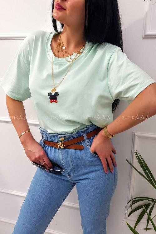 T-shirt z nadrukiem na krótki rękaw miętowy Miki