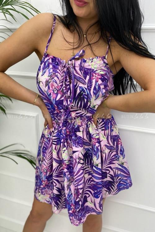 Sukienka letnia mini fioletowa w kwiatowy print Isa
