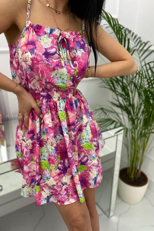 Sukienka letnia mini różowa w kwiatowy print Isa