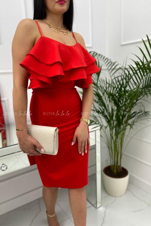 sukienka mini dopasowana z falbaną na biuście czerwona Palemo
