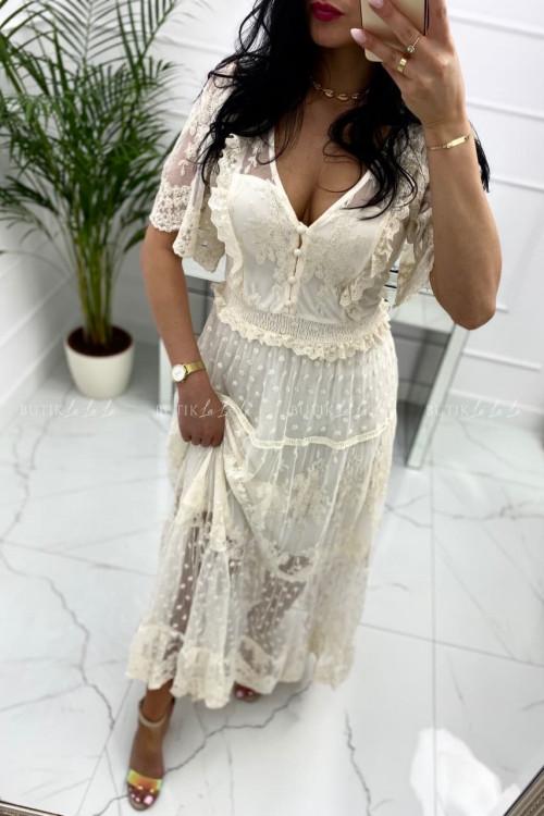 Sukienka maxi koronkowo-tiulowa kremowa Kleopatra