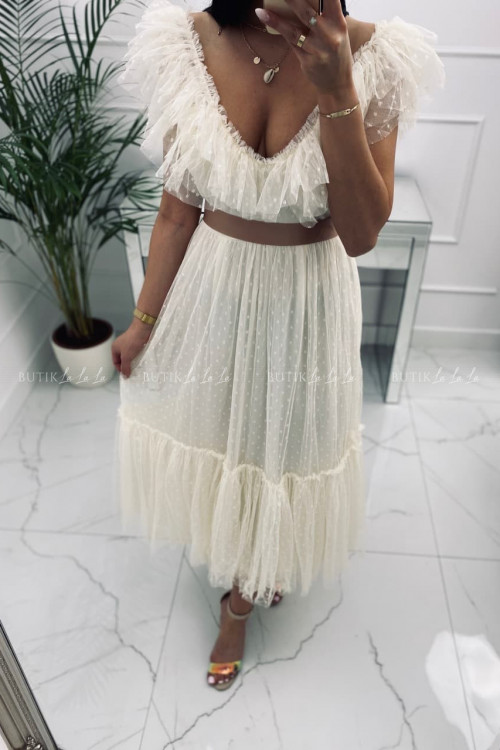 sukienka MIDI tiulowa kremowa Belisso