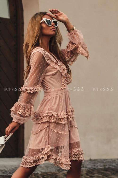 sukienka letnia boho z koronką pudrowa Charlott 6