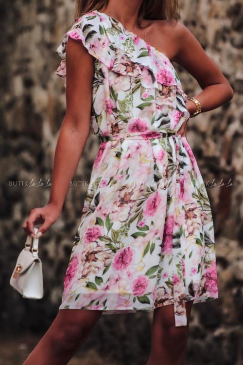 sukienka letnia mini w kwiatowy print z falbanką Simona