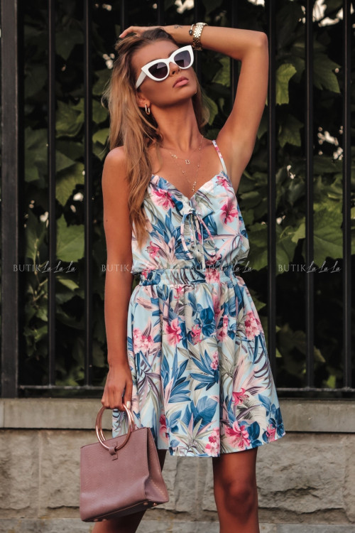 Sukienka letnia mini niebieska w kwiatowy print Isa