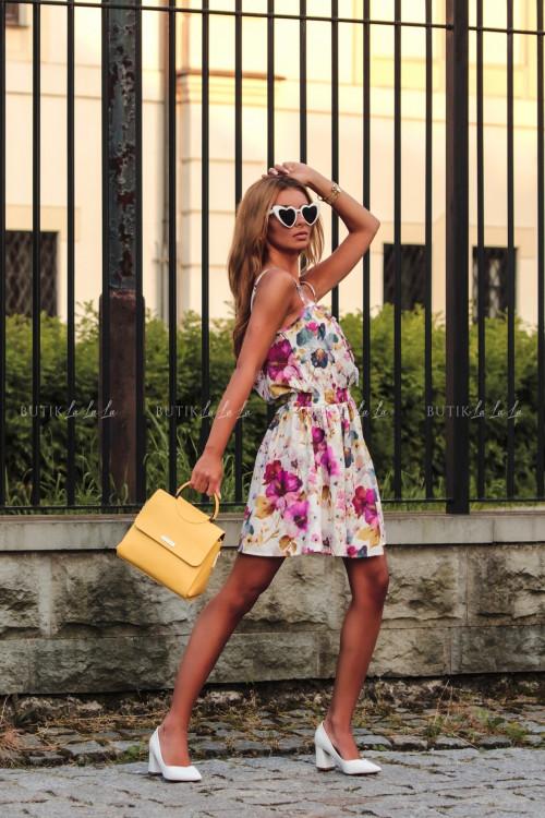 Sukienka letnia mini biała w kwiatowy print Isa 1