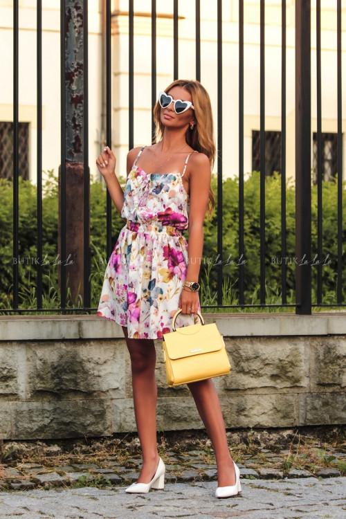 Sukienka letnia mini biała w kwiatowy print Isa 2
