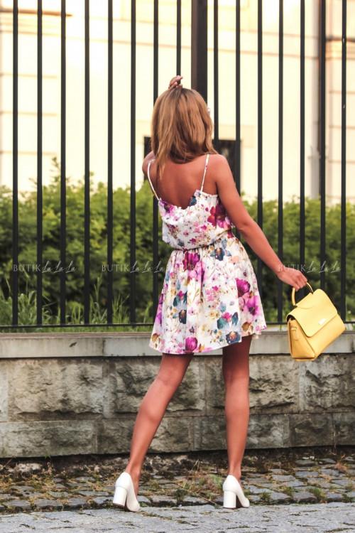 Sukienka letnia mini biała w kwiatowy print Isa 3
