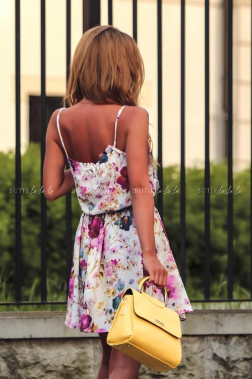 Sukienka letnia mini biała w kwiatowy print Isa 4