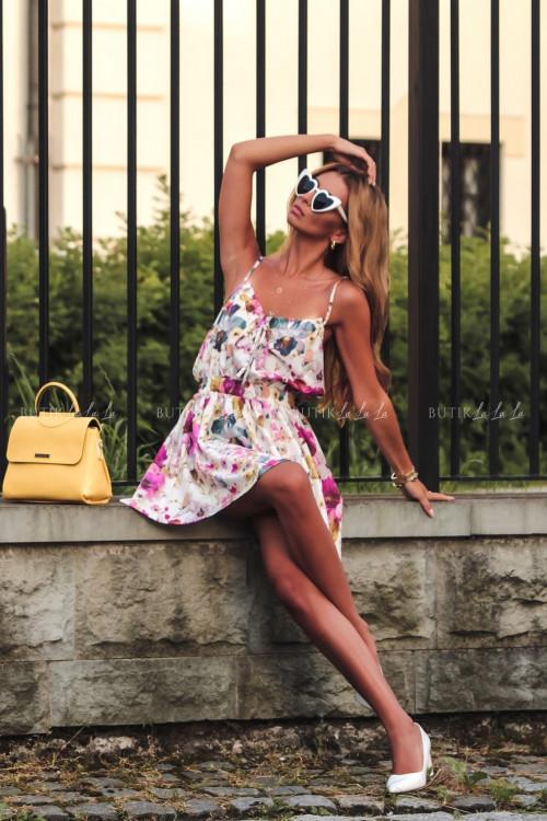 Sukienka letnia mini biała w kwiatowy print Isa 5