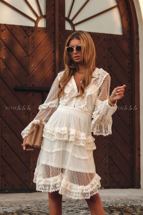 sukienka letnia boho z koronką biała Charlott