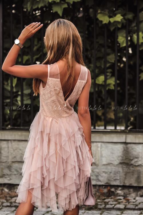 Sukienka z koronkową górą i tiulowym dołem pudrowa Alladyna