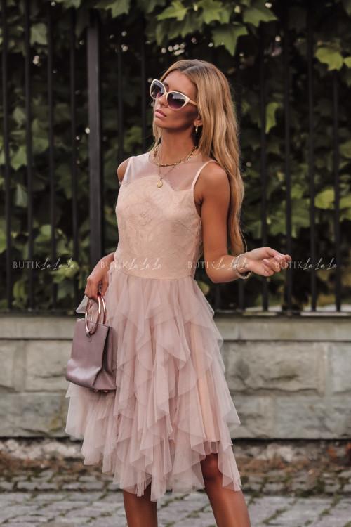 Sukienka z koronkową górą i tiulowym dołem pudrowa Alladyna 1