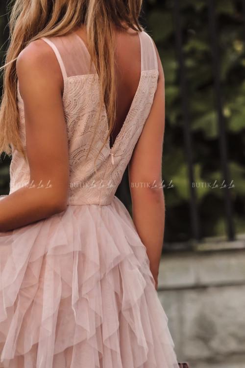 Sukienka z koronkową górą i tiulowym dołem pudrowa Alladyna 2