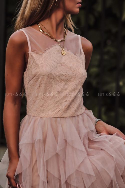 Sukienka z koronkową górą i tiulowym dołem pudrowa Alladyna 4