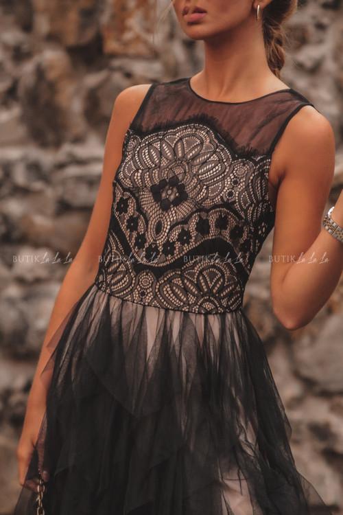 Sukienka z koronkową górą i tiulowym dołem czarna Alladyna